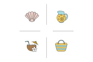 Summer color icons set