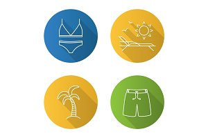 Summer flat linear long shadow icons set