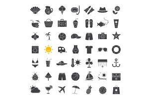 Summer glyph icons set