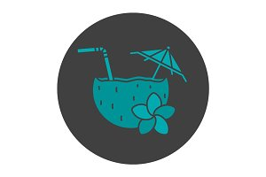 Beach cocktail glyph color icon