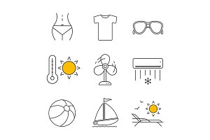 Summer linear icons set
