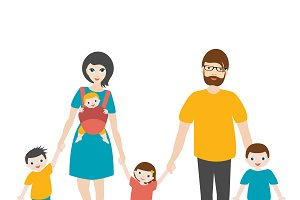 Big family walking with children