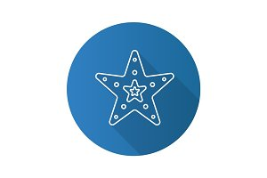 Sea star flat linear long shadow icon