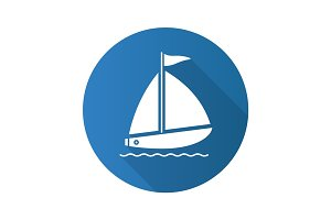 Sailboat flat design long shadow icon