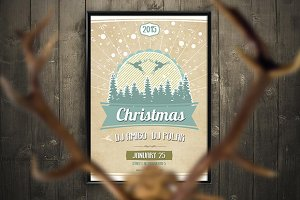 Retro Christmas Party Flyer PSD