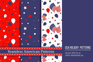 Seamless american patterns.