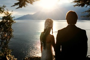 Wedding couple and the sunset