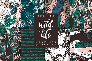 Wild Life. 8 seamless patterns.