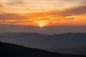 Sunset on Phu Chi Fa Forest Park