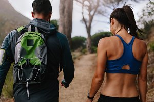 Fit young couple walking