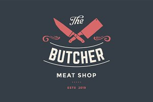 Emblem of Butcher meat shop with Cleaver and Chefs knives