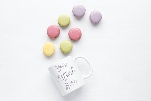 Pastel Macaroons White Mug Mock up