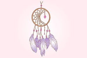 Pink dream catcher isolated vector