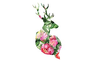 Watercolor floral deer silhouette