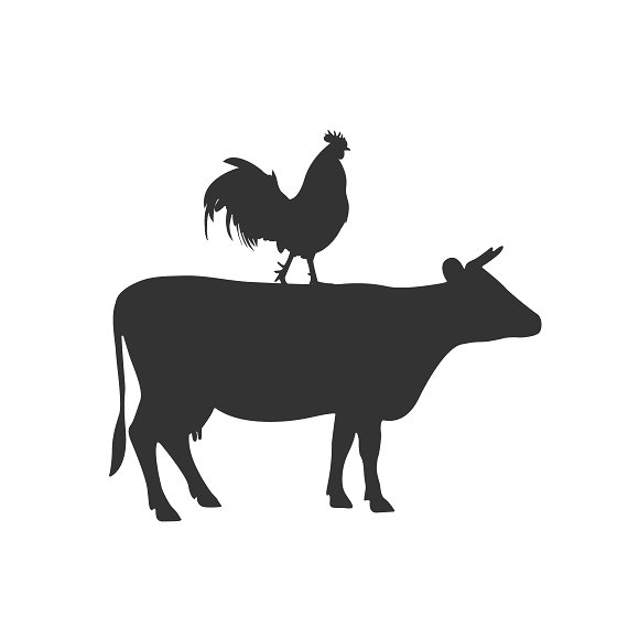 Cow And Rooster Icon Vector