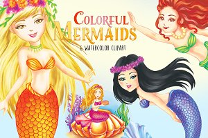 Colorful Mermaids Clipart Images