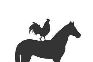 horse and rooster, icon, vector