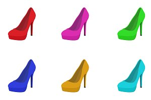 set of high heels, shoes, vector