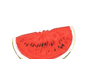 slice of watermelon in sketch style