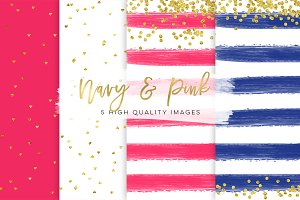 Pink and Navy blue paper