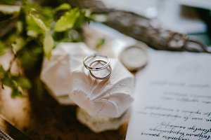 Wedding rings on a Marshmallow