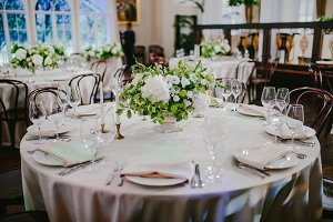 Wedding table with flowers and candles