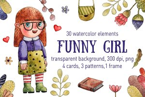 Funny Girl - Watercolor Clip Art Set