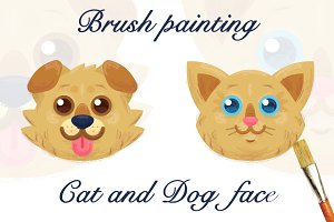 Brush Painting - Cat and Dog face