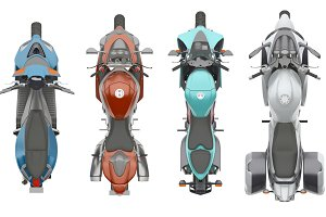 group motorcycles top view