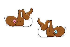 Cute cartoon characters of newborn babies