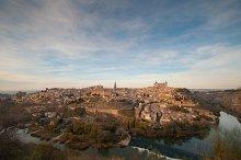 Toledo city panoramic view at sunset