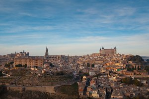 Toledo city panoramic view at sunset
