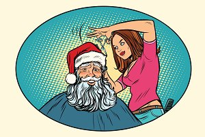 Santa Claus at the Barber