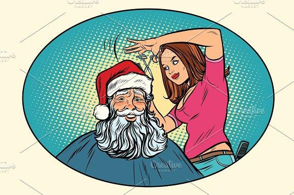 Santa Claus At The Barber