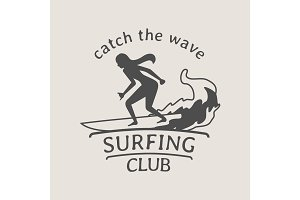 Surfing club logo with female surfer