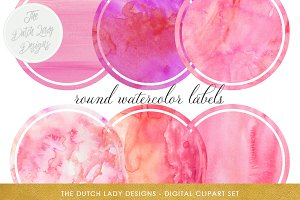 Pink Watercolor Label Clipart