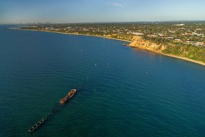 Aerial view of historic shipwreck