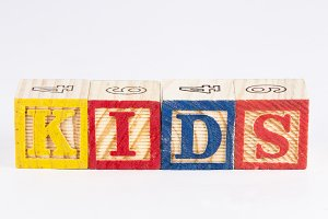 Kids word with wooden blocks
