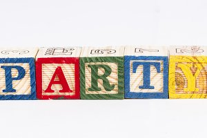 Party word with wooden blocks