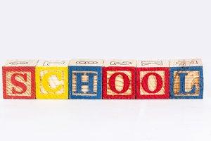 School word with wooden blocks