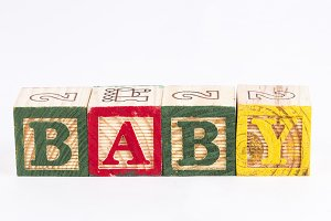 Baby word with wooden blocks