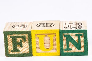 Fun word with wooden blocks