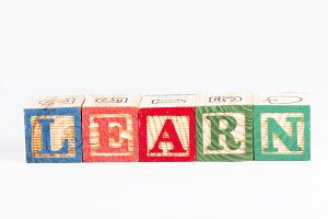 Learn word with wooden blocks