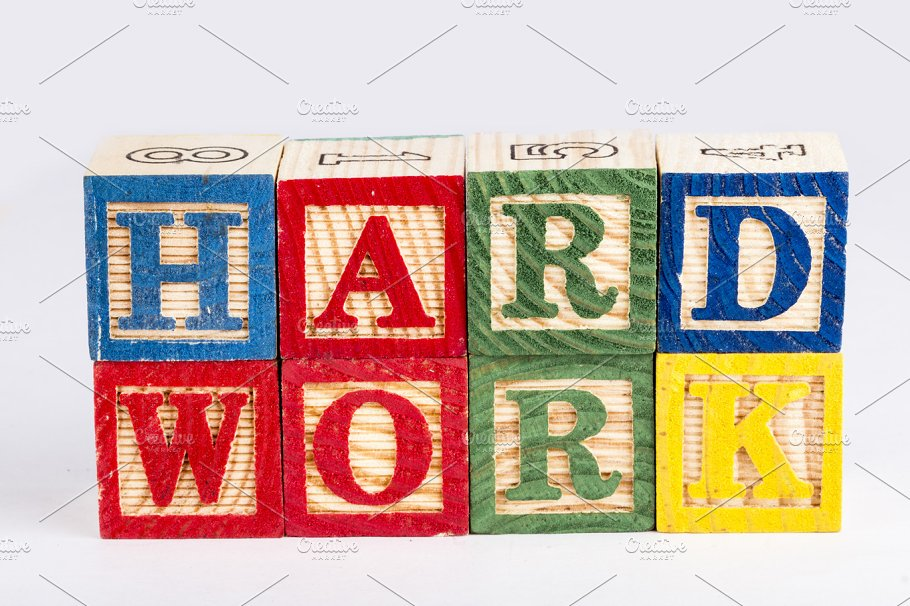 hard work word with wooden blocks education photos creative market