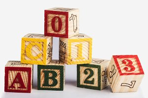 ABC 0123 word with wooden blocks