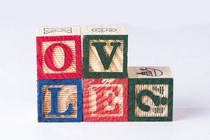 Love? word with wooden blocks