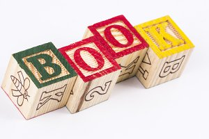 Book word with wooden blocks