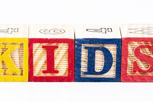Kid word with wooden blocks
