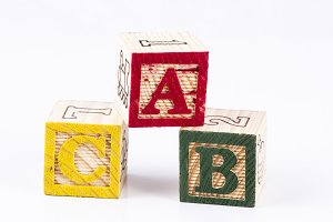ABC word with wooden blocks