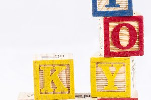 Toys kids word with wooden blocks